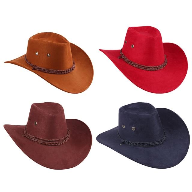 Herói Chapéu De Cowboy Cowgirl ocidental Estilo Retro Marrom Preto Vermelho  Faux Couro Das Mulheres Dos e7753dd6c5d