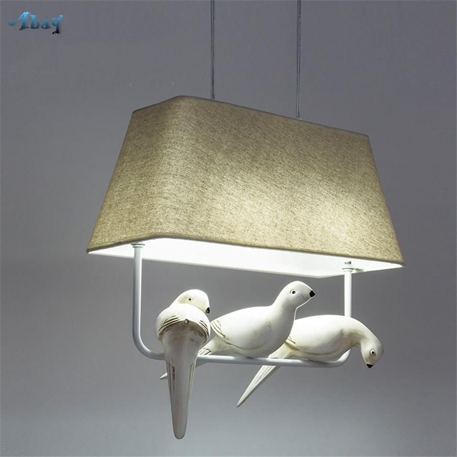 Us 55 2 40 Off Nordic Fabric Lampshade Bird Pendant Lights For Living Room Children S Bedroom Light Fixtures Creative Led Hang Lamp In