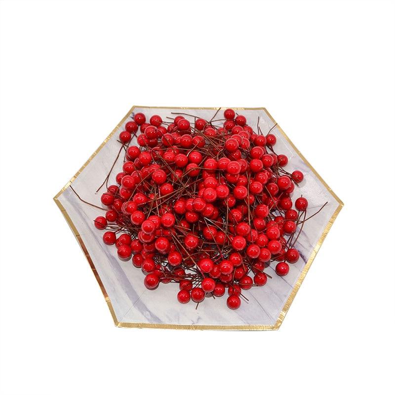 100pcs 1cm Mini Berries Artificial Flower Multicolor Cherry Pomegranate Stamen Wedding Party Decoration DIY Wreath Supplies