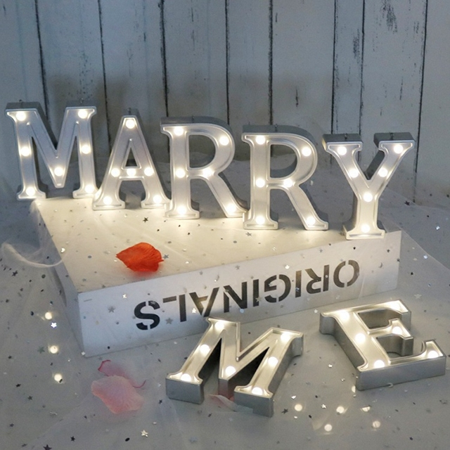 MAERRY ME Propose 26 Alphabet 3D Night Light Romantic Letter Lamp Warm White Bulb LED Lighting Home Party DIY Decor AAA Battery