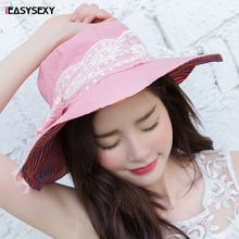 iEASYSEXY Brand 2016 Korean Style Spring Summer Sunscreen Sunshade Cap Women Adult Casual Solid Cotton Beach Hat With Bowknot