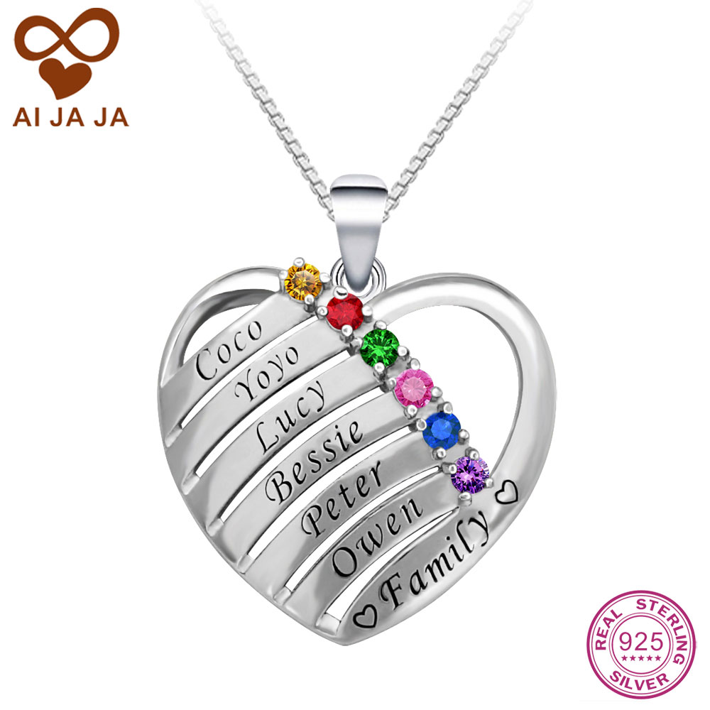 Aijaja personalised 925 sterling silver birthstones engraved names aijaja personalised 925 sterling silver birthstones engraved names heart necklaces pendants custom best friends family necklace aloadofball Choice Image