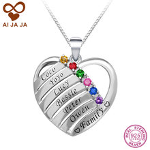 AIJAJA Personalised 925 Sterling Silver Birthstones Engraved Names Heart Necklaces Pendants Custom Best Friends Family Necklace