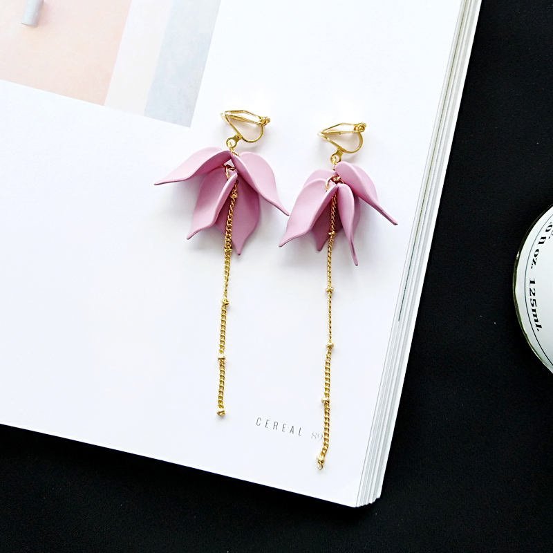 Frosted flower petals wind small and pure and fresh temperament female students earrings long earrings Brand earrings in Drop Earrings from Jewelry Accessories