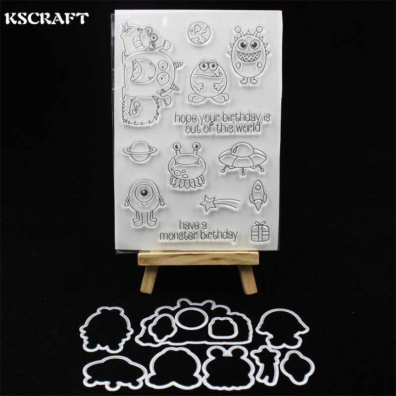 KSCRAFT Birthday Monsters Transparent Clear Silicone Stamp And Cutting Dies Set for DIY scrapbooking/photo album Decorative 298