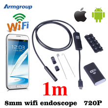 Iphone Android Wi-Fi Эндоскопа HD 8 мм 720 P Эндоскопа 1 М Водонепроницаемая Камера Инспекции Змея Пробки Endoskop IOS Android Mac Компьютер
