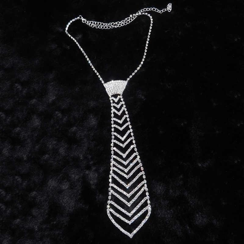 5d3b51c5d6ea4 Europe Glitering Rhinestone Necktie Chokers Necklaces Wedding Accessories  Trendy Arrow-shaped Chain Men Women Lovers Jewelry