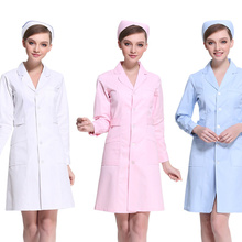 New Arrival Nurse Dress Long Sleeve White Blue Pink Doctor Coat Suit Pharmacy Beauty Salon Workwear Nurse Uniform Lab Coat