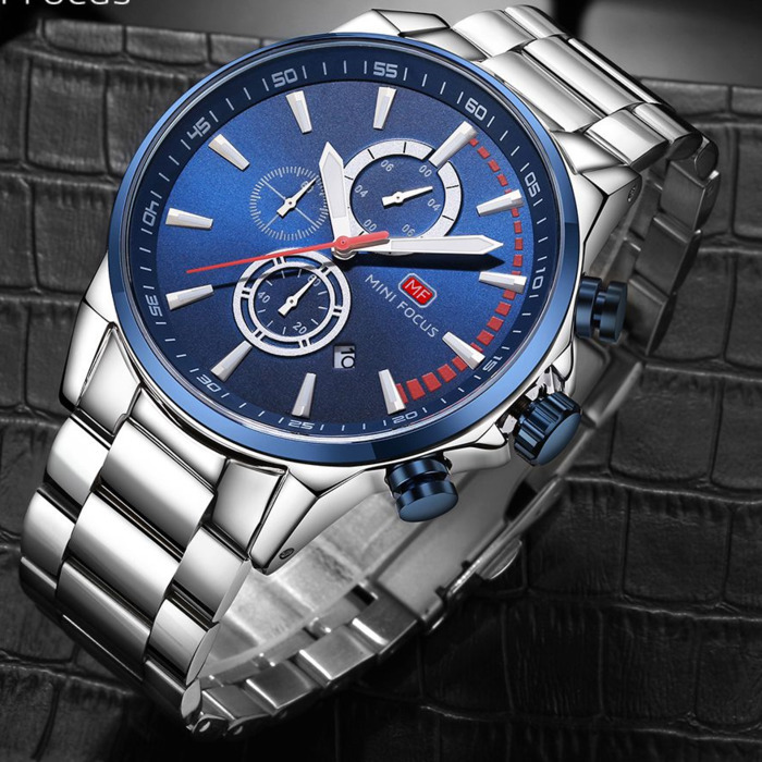 MINIFOCUS Brand Men Watches Luxury Sport Quartz 30M Waterproof Men's Stainless Steel Band Auto Date Relojes стоимость