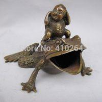 Ev ve Bahçe'ten Statü ve Heykelleri'de [Eski zanaat] Nefis Çin Bronz Heykeli Kurbağa (A0314)