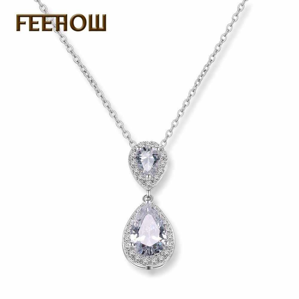 FEEROW Dazzling Big Water Drop Pendant Necklaces Crystal Cubic Zirconia Jewelry For Party FWNP068