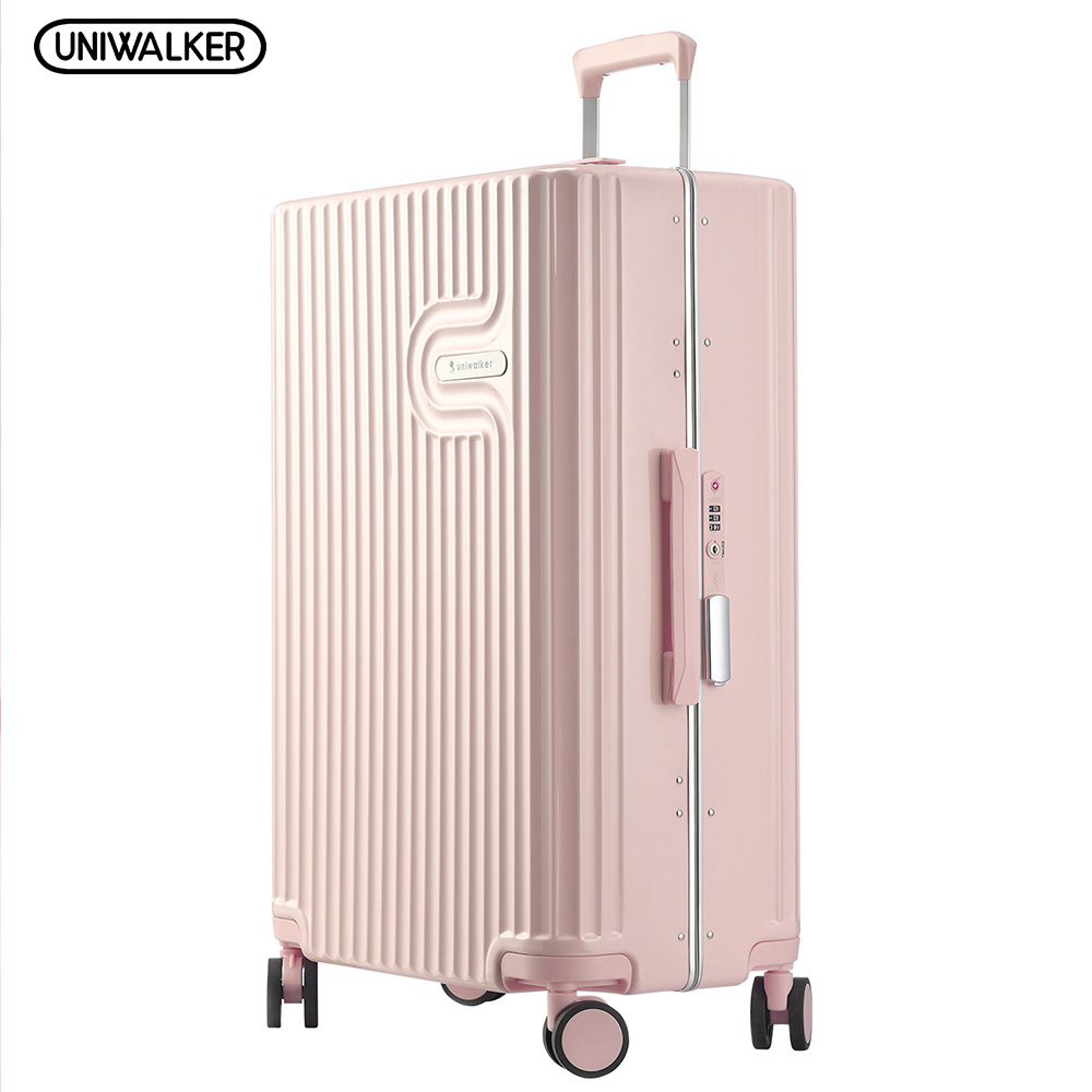 UNIWALKER Pink 20''24''26'' Women 100% PC Suitcase Carry on Suitcase Spinner Wheel Travel Luggage TSA Lock Travel Trolley uniwalker 2022 24 26 drawbars