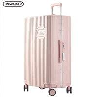 UNIWALKER Pink 20''24''26'' Women 100% PC Suitcase Carry on Suitcase Spinner Wheel Travel Luggage TSA Lock Travel Trolley