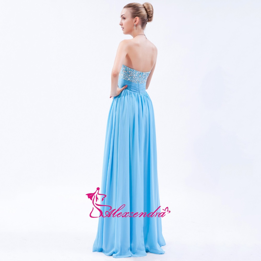 Alexzendra bleu ciel en mousseline de soie longue ligne robes de bal chérie perlée robe de soirée robes de grande taille - 4