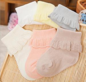 6 пар, новинка, весенне-осенние кружевные Дышащие носки для новорожденных хлопковые мягкие носки принцессы для маленьких девочек Нескользя...