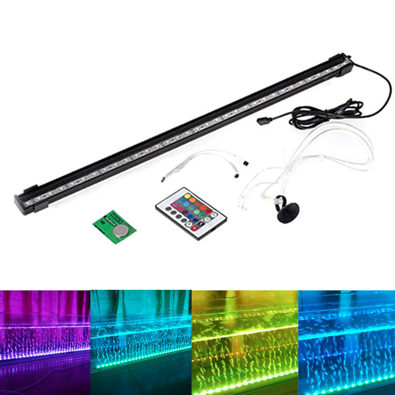 16/26/36/46/56CM LED Fish Tank Light RGB Bar Air Bubble Lamp Submersible Waterproof Aquarium Fish Aquatic Pet Lighting LXY9 DE17