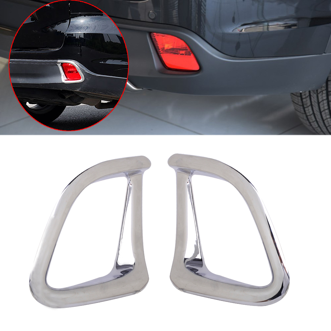 DWCX New Car Styling Chrome Plated Plastic Silver Rear Fog Light Lamp Cover Trim fit for Toyota Highlander 2014 2015 2016 2017