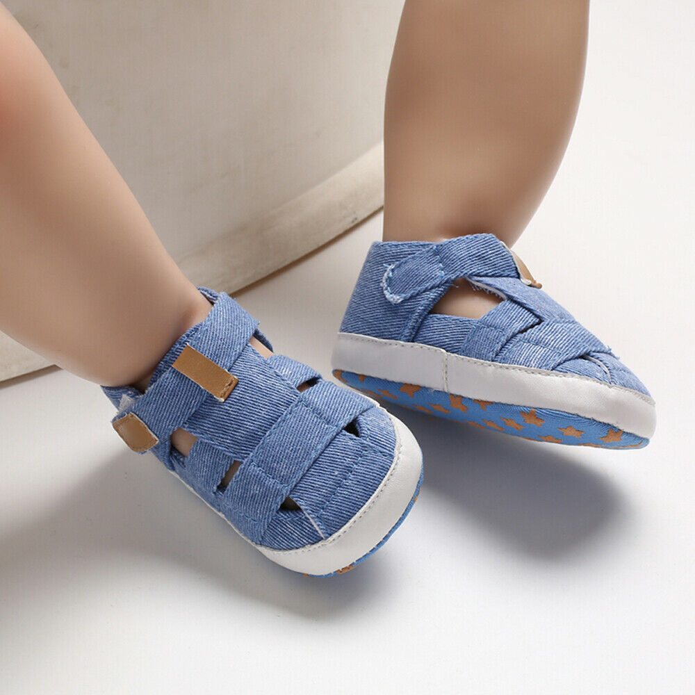 Pudcoco Kids Soft Sole Crib Shoes Newborn Baby Boy Girl Sandals Pre-Walker Sneaker Blue Pram Shoes Trainers Infant 0-18 Months