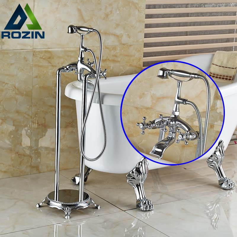 Floor Mount Bath Clawfoot Tub Filler Faucet Tap With Handshower
