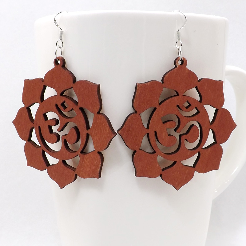 12 Pairs Good Quality Wood Earrings Organic Round brown Flower Hollow African Woman Wooden Brincos Pendant 5.5cm