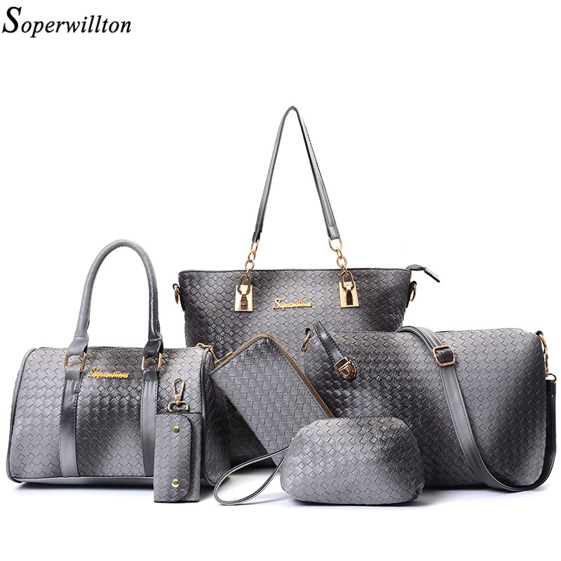 Soperwillton Brand New Bag 2017 Women Bag Purses and Handbags Candy Color Composite Bag Handbag Casual Tote 6 piece set #SD667
