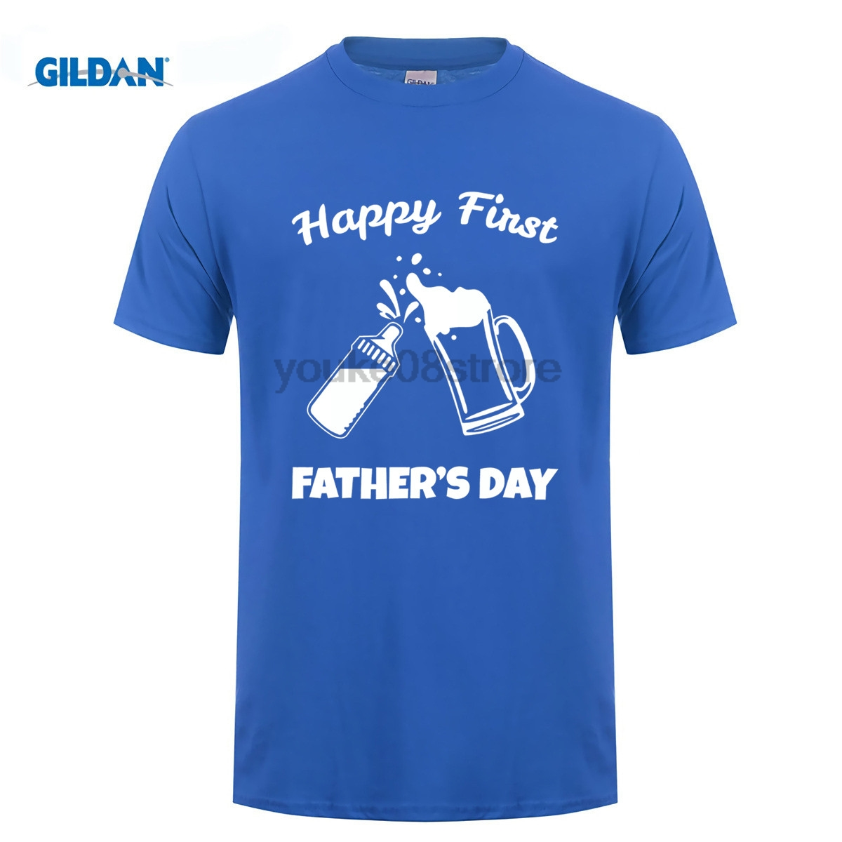 GILDAN 100% Cotton O-neck custom printed T-shirt Mens Fathers Day Gifts Happy First Fathers Day T-Shirt
