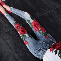 2018 Autumn Winter New Fashion Women Jeans Peony Flower Slim High Waist Embroidery Hole Skinny Denim Pants Basic Trousers