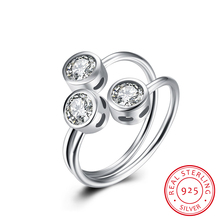 Stylish 3 Stones Bezel Cubic Zirconia Crystal Open Cuff Resizable Rings for Women Real 925 Sterling Silver Jewlery SR047