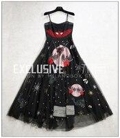 Лидер продаж Элитный бренд платье с вышивкой черный прозрачный длинное платье Спагетти ремень Blingbling бальное платье