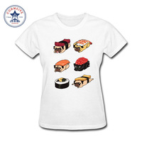 2017 Tops Unisex Sushi Pug Cute Food Printed Cute Girl S Gift Cotton Funny T Shirt