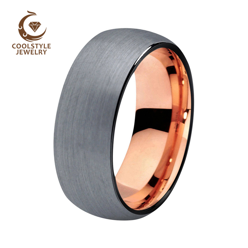 8mm Dome band tungsten wedding band black plated rose gold color silver brushed top engagement ring