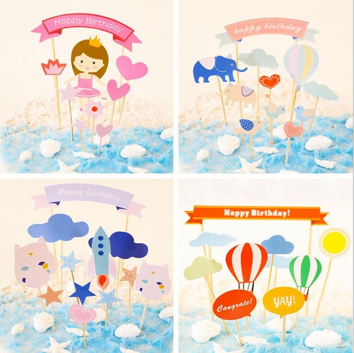 cake toppers cartoon lovely paper cards banner for Cupcake Wrapper Baking Cup birthday tea party decor Craft baby shower DIY