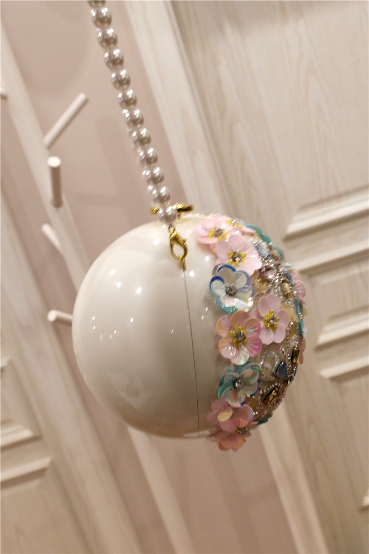 Neue Frühjahr 2009 Chaozhou Mädchen Handgemachte Blume intarsien Diamant Einzelnen Schulter Hand gehalten Geneigt Perle Ball Runde Tasche - 4