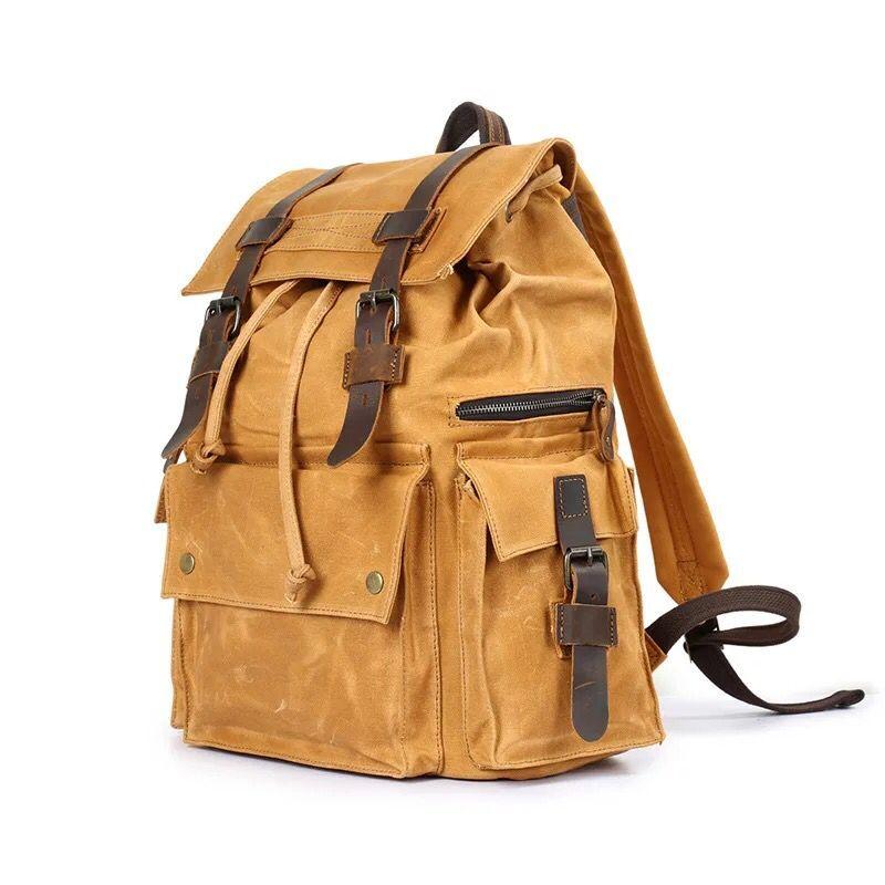 Taschen Rucksack Laptop Reise Schule Gepäck grün Große Leder Leinwand Dunkles Marke gelb Vintage Wasserdichte armee Grau Tasche Für Wohenred Männer coffee wPqtAYn