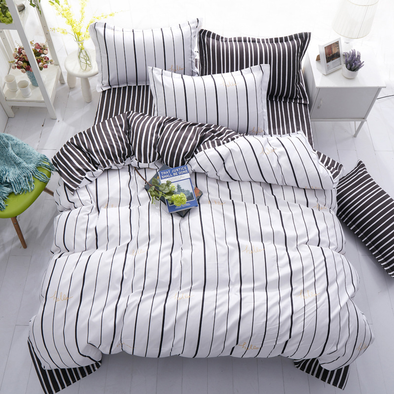 Home Textile Plaid Stripes Cotton 4pcs Bedding Sets Bed Linen Duvet Cover Bed Sheet Pill ...