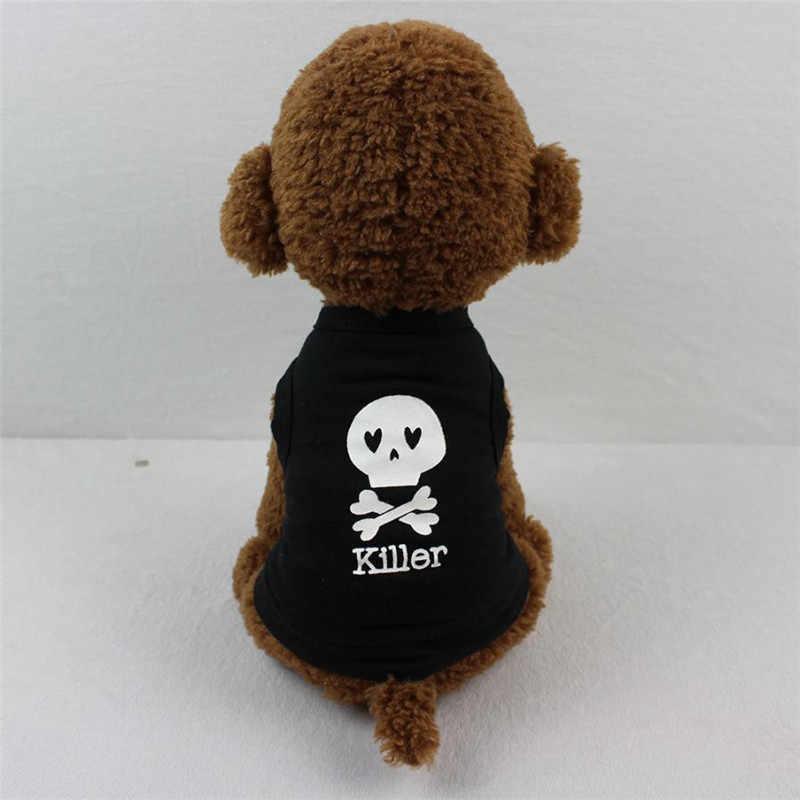 Legal preto ASSASSINO Impressão Gato de Estimação cão Colete Camisa Do Crânio de Volta Gatinho filhote de cachorro Roupas de Verão Desgaste Pequeno Cachorrinho Costume T shirt Roupas