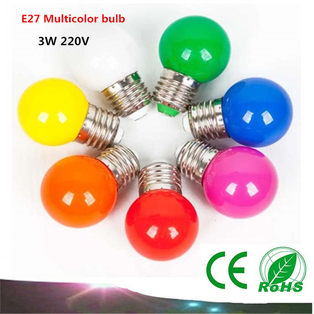 10PCS E27 LED light bulbs 3W AC220V LED multicolor lights indoor and outdoor decorative lighting energy saving lamps Colorful