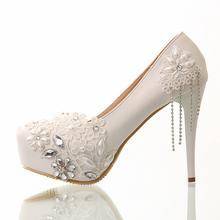 2016 single Rhinestone shoes women pumps white lace flower non-slip high-heeled crystal shoes platform Pearl wedding shoes
