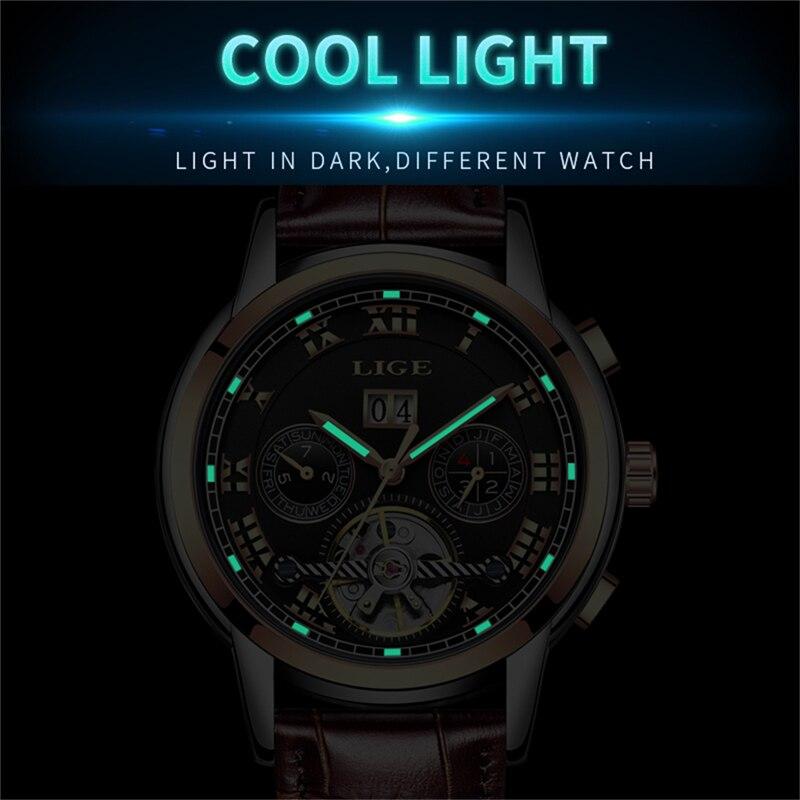 Męskie WatchTop Luxuy marki LIGE Męskie mechaniczne zegarki - Męskie zegarki - Zdjęcie 5