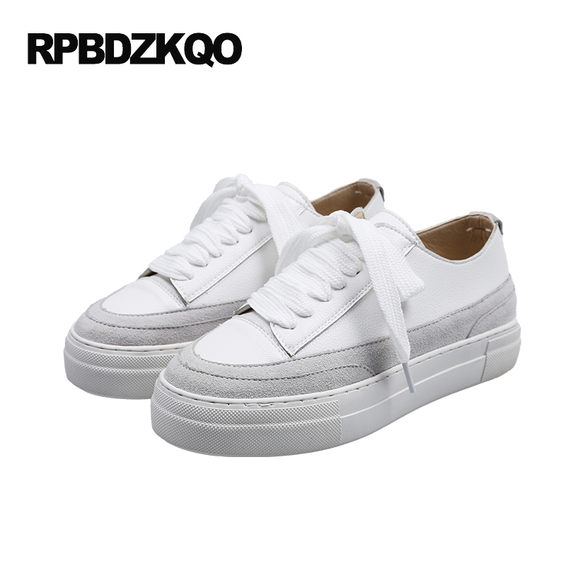 2017 Walking Elevator Suede Sneakers Platform Flats Women Creepers Plain White Designer Shoes China Thick Sole Beautiful Drop