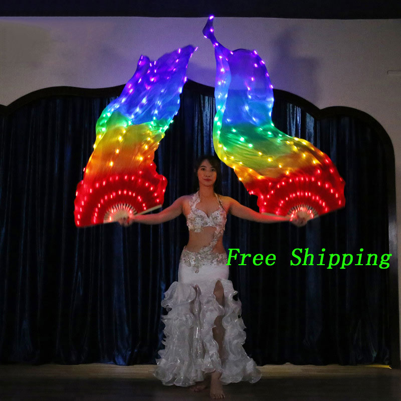 LED Rainbow Fan Veil Belly Dance Accessories Fan Veil Belly Dance Carnival Dance Prop Belly Dancing