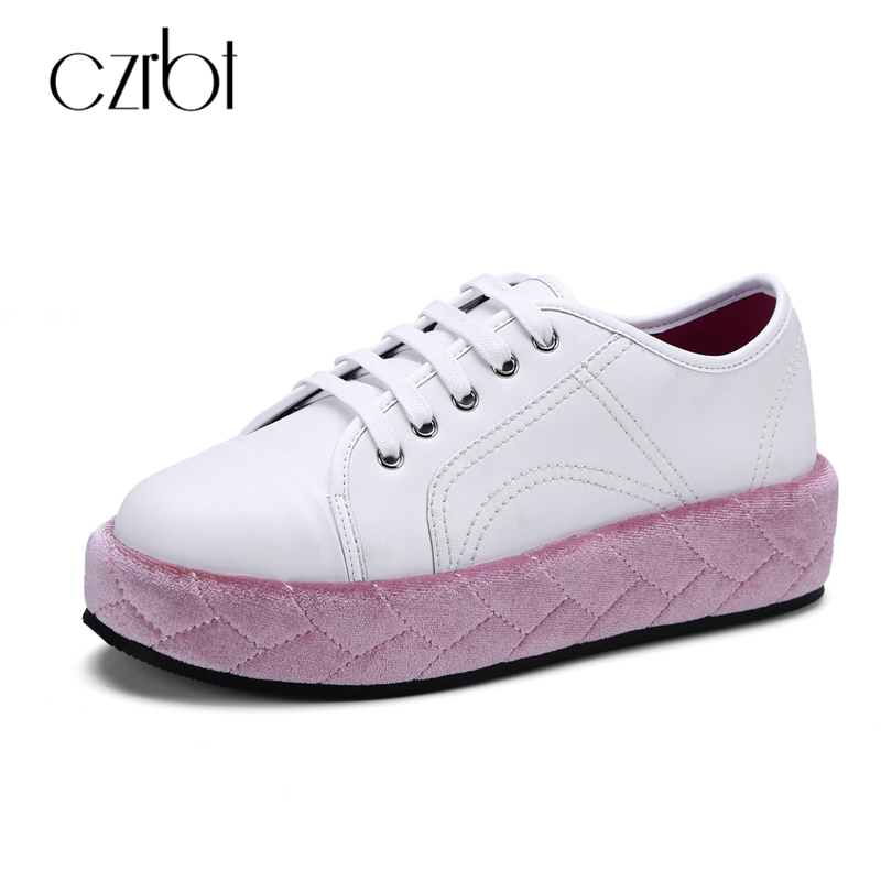 CZRBT Genuine Leather Flatform Shoes Autumn Winter Fashion Flat Shoes High Quality Handmade Casual Shoes College Style Flats