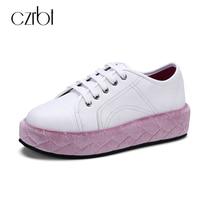 Czrbt本革flatform靴秋冬ファッションフラットシューズ高品質手作りカジュアルシューズカレッジスタイル予告なく変更、削
