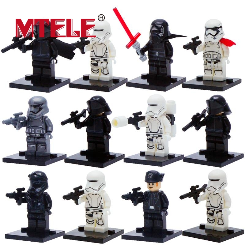12pcs/lot Star Wars The Force Awakens Figure Building Blocks Compatible with Lego First Order Kylo Ren Soldier Model single sale star wars the force awakens chewbacca kylo ren han solo super heroes building blocks bricks toys for children x0104