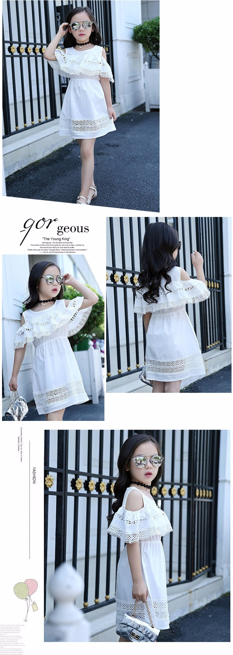 Kids Girls' Dress with Lace Summer 2018 New Kids Clothes for Girls Clothes Cotton Off Shoulder Dress White Pink Yellow Vestido 12