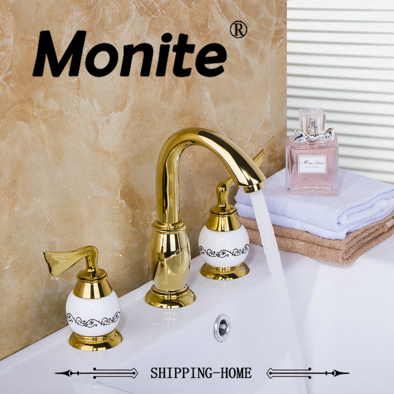 Golden Polish Bathroom Faucet set Deck Mounted 3PCS Set Bathtub European Split Basin Mixer Tap ceramic Faucet Body european gold polish
