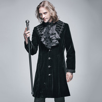 2018 Devil Fashion Gothic Punk Winter Men's Coat Steampunk Long Wool Trench Coats Embroidery Sleeves Collar Victorian Overcoats