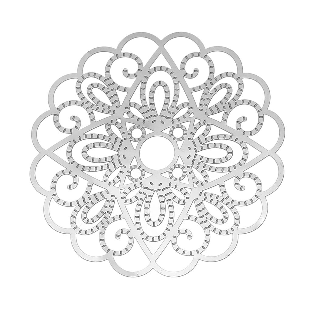 DoreenBeads Stainless Steel Embellishments Findings Flower Silver Tone Hollow 50mm(2)x 50mm(2),Thickness: 0.3mm,10 PCs