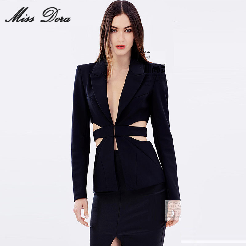 2016 New Arrival Deep V Blazer Skinny Cut Out Formal Pant Suits Sets Sexy Women OL Elegant Business Style Long Sleeve jacket