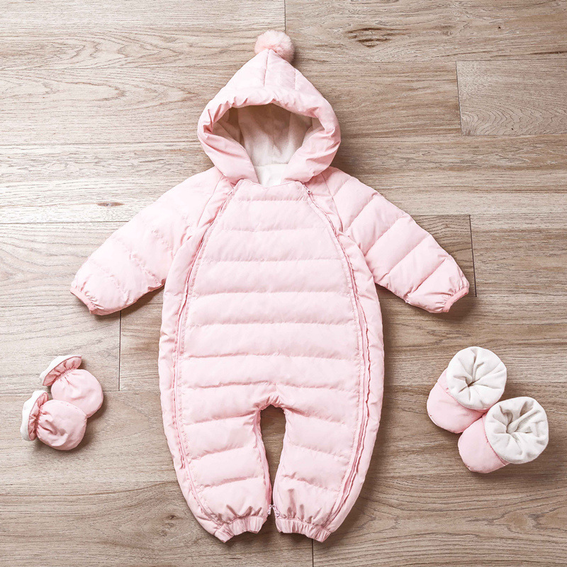 New Winter Baby Boys Girls Romper Hooded Solid Color Newborn Jumpsuit Snowsuit Infant Overcoat Baby Winter Down Coat With Socks v cut solid romper with tied strap